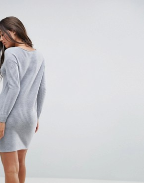 photo Jumper Dress in Ripple Stitch by ASOS, color Mid Grey - Image 2