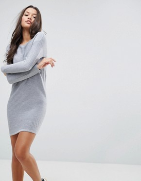 photo Jumper Dress in Ripple Stitch by ASOS, color Mid Grey - Image 1