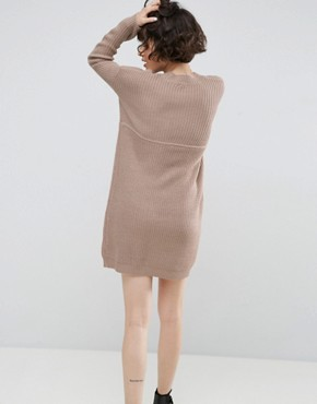 photo Chunky Knit Dress in Rib with High Neck by ASOS, color Mink Marl - Image 2
