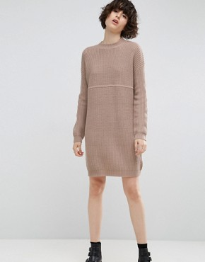 photo Chunky Knit Dress in Rib with High Neck by ASOS, color Mink Marl - Image 1