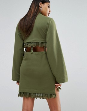 photo Kimono Sleeve Suspender Dress by Puma x Fenty, color Olivebranch - Image 2