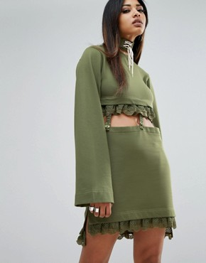 photo Kimono Sleeve Suspender Dress by Puma x Fenty, color Olivebranch - Image 1