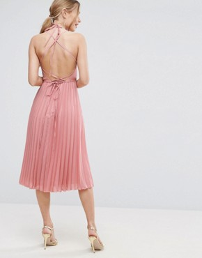 photo Wrap Front Pleated Midi Dress by ASOS, color Nude - Image 1