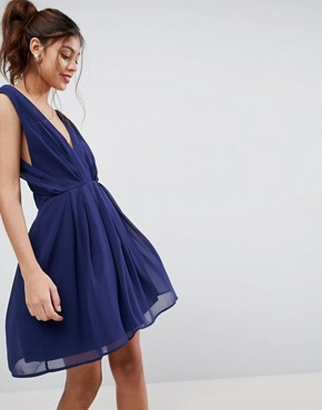 photo Cut Out Back Mini Dress by ASOS, color Navy - Image 2