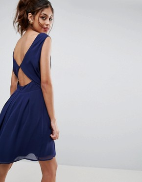 photo Cut Out Back Mini Dress by ASOS, color Navy - Image 1