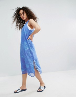 photo Ocean Printed Tank Dress with Chiffon Overlay by Adidas Originals, color Aop - Image 1