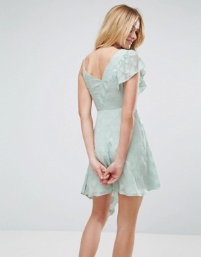 photo Ruffle Tea Dress in Heart Dobby with Asymmetric Hem by ASOS, color Mint - Image 2