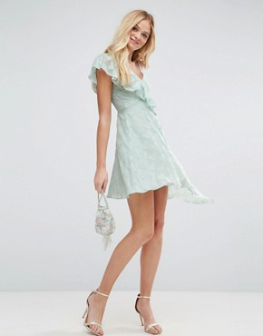 photo Ruffle Tea Dress in Heart Dobby with Asymmetric Hem by ASOS, color Mint - Image 1