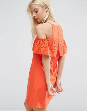 photo Cold Shoulder Broderie Dress by ASOS, color Red - Image 2