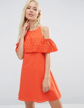 photo Cold Shoulder Broderie Dress by ASOS, color Red - Image 1