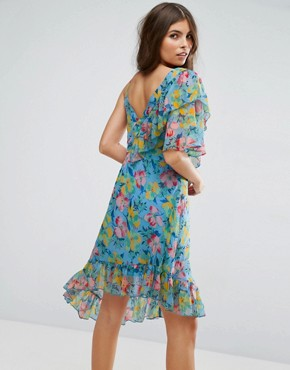 photo Ruffle Tea Dress with Asymmetric Hem in Floral Print by ASOS, color Multi - Image 2