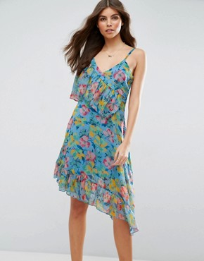 photo Ruffle Tea Dress with Asymmetric Hem in Floral Print by ASOS, color Multi - Image 1