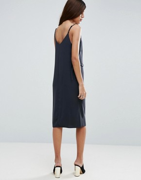 photo Midi Cami Dress with Eyelet Detail by ASOS, color Black - Image 2