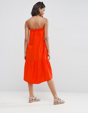 photo Bandeau Cotton Dress by ASOS, color Red - Image 2