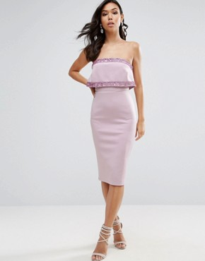 photo Embellished Crop Top Bandeau Midi Dress by ASOS, color Lilac - Image 1