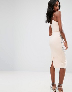 photo Embellished Contour Cami Midi Dress by ASOS, color Nude - Image 2