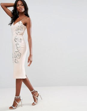 photo Embellished Contour Cami Midi Dress by ASOS, color Nude - Image 1