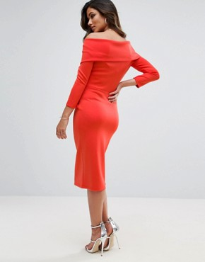 photo Origami Pleated Bardot Dress in Scuba by ASOS Maternity TALL, color Red - Image 2