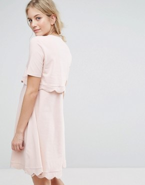 photo Scallop Dress with Short Sleeve by ASOS Maternity NURSING, color Nude - Image 2