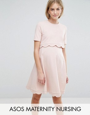 photo Scallop Dress with Short Sleeve by ASOS Maternity NURSING, color Nude - Image 1