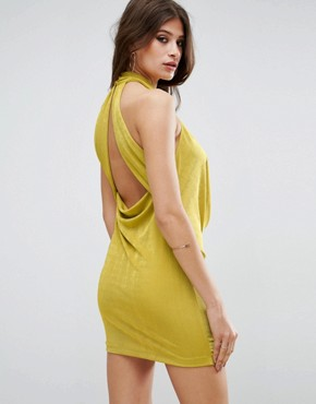 photo Twist Neck Slinky Bodycon Dress by ASOS, color Chartreuse - Image 2