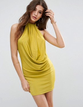 photo Twist Neck Slinky Bodycon Dress by ASOS, color Chartreuse - Image 1