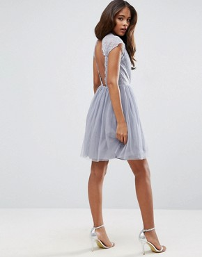 photo Lace Tulle Mini Prom Dress by ASOS TALL PREMIUM, color Grey - Image 2