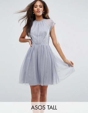 photo Lace Tulle Mini Prom Dress by ASOS TALL PREMIUM, color Grey - Image 1