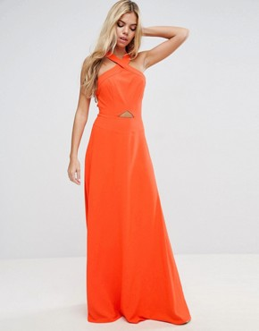 photo Cut Out Front Strap Back Maxi Dress by ASOS, color Bright Orange - Image 2