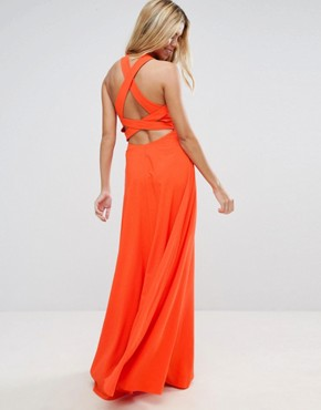 photo Cut Out Front Strap Back Maxi Dress by ASOS, color Bright Orange - Image 1