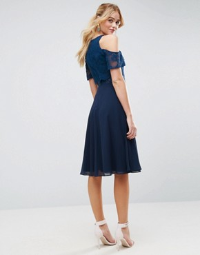 photo Lace Cold Shoulder Crop Top Skater Midi Dress by ASOS, color Navy - Image 2