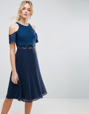 photo Lace Cold Shoulder Crop Top Skater Midi Dress by ASOS, color Navy - Image 1