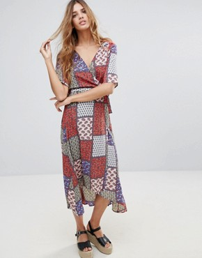 photo Patchwork Paisley Printed Wrap Midi Dress by Hazel, color Coral - Image 1