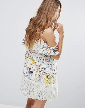 photo Floral Print Cold Shoulder Frill Layer Mini Dress by Hazel, color Natural - Image 2