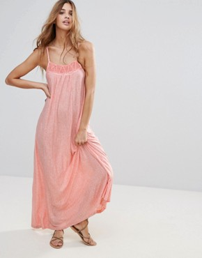 photo Pink Column Maxi Dress by Hazel, color Coral - Image 1