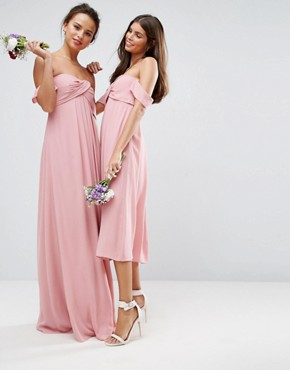photo Bandeau Tie Front Maxi Dress by ASOS WEDDING, color Pink - Image 3