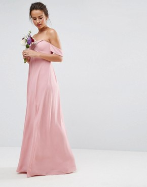 photo Bandeau Tie Front Maxi Dress by ASOS WEDDING, color Pink - Image 4