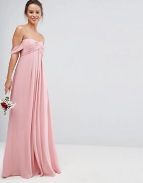photo Bandeau Tie Front Maxi Dress by ASOS WEDDING, color Pink - Image 1