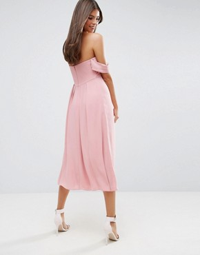 photo Bandeau Tie Front Midi Dress by ASOS WEDDING, color Pink - Image 2