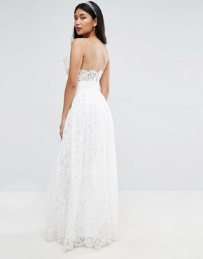 photo Lace Bow Front Maxi Prom Dress by ASOS BRIDAL, color White - Image 2