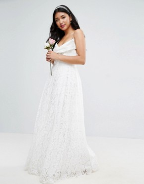 photo Lace Bow Front Maxi Prom Dress by ASOS BRIDAL, color White - Image 1