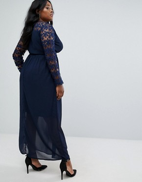 photo Plunge Wrap Maxi Dress with Lace Sleeve by Club L Plus, color Navy - Image 2