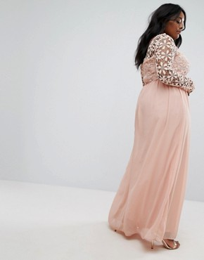 photo Lace Bodice Maxi Dress by Club L Plus, color Blush - Image 2
