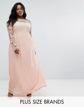 photo Lace Bodice Maxi Dress by Club L Plus, color Blush - Image 1