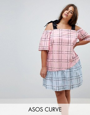 photo Check Mix and Match Cold Shoulder Cotton Dress by ASOS CURVE, color Multi - Image 1