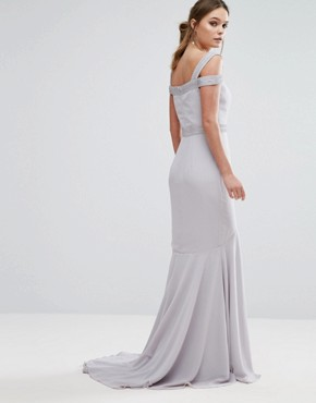 photo Square Neck Cold Shoulder Maxi Dress with Fishtail by Jarlo, color Grey - Image 2