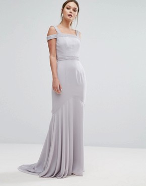 photo Square Neck Cold Shoulder Maxi Dress with Fishtail by Jarlo, color Grey - Image 1