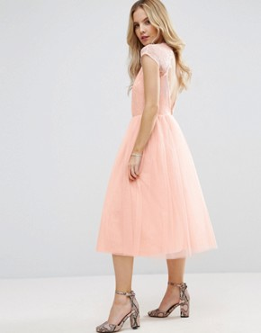 photo Lace Tulle Midi Prom Dress by ASOS PETITE PREMIUM, color Pink - Image 2