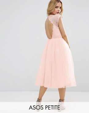 photo Lace Tulle Midi Prom Dress by ASOS PETITE PREMIUM, color Pink - Image 1