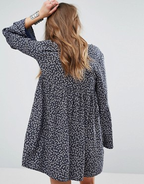 photo Ditsy Print babydoll Dress with Bell Sleeve by Denim & Supply by Ralph Lauren, color Navy - Image 2